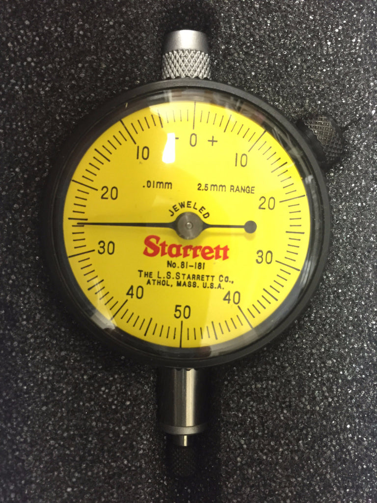 Starrett 81-181J Dial Indicator, 2.5mm Range, 0.01mm Graduation *New-Open Box Item