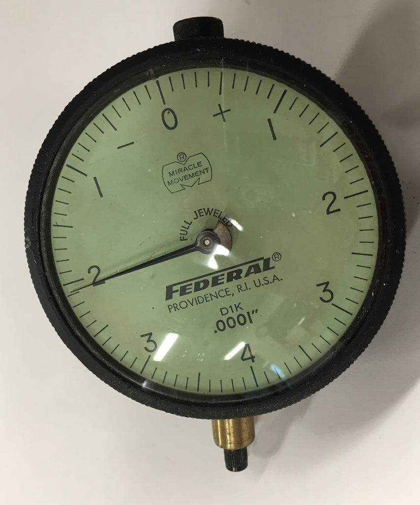 "Federal D1K Dial Indicator, 0-.020"" Range, .0001"" Graduation with Lug Back *USED/RECONDITIONED*"