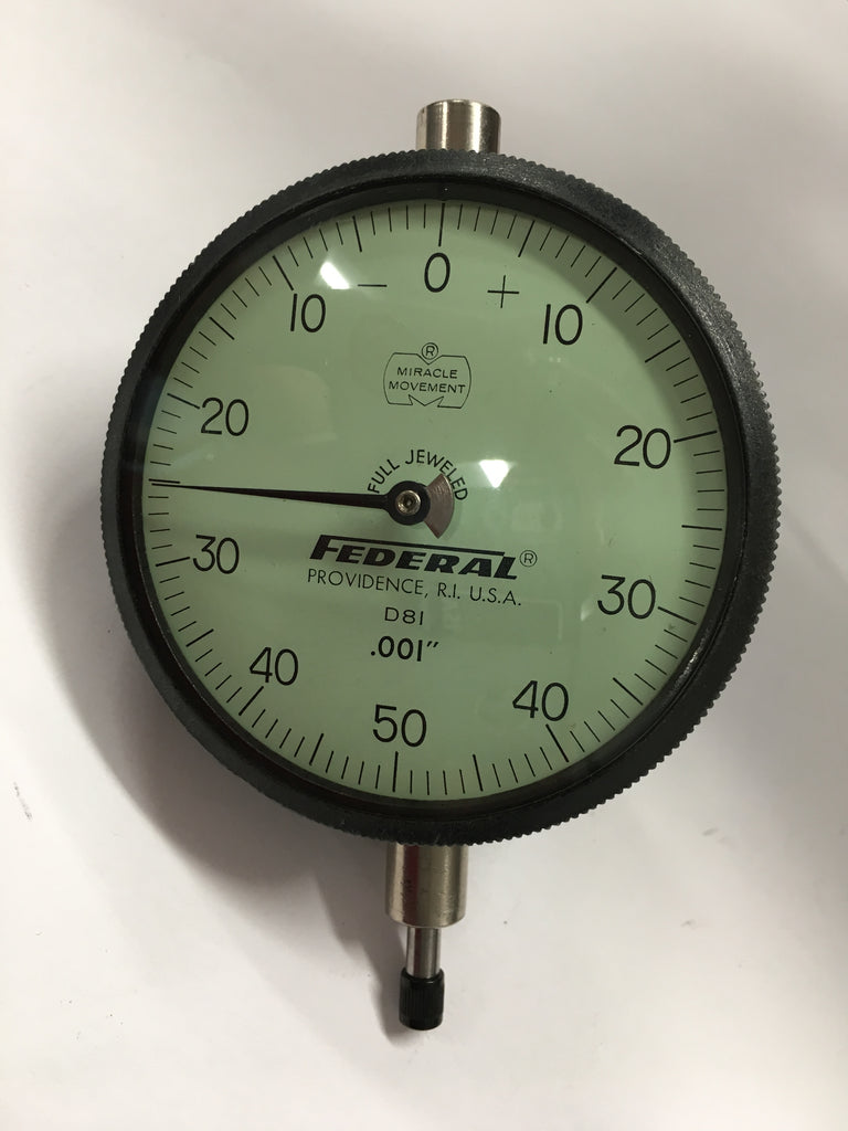 "Federal D8I Dial Indicator, 0-.250"" Range, .001"" Graduation w/ Adjustable Back *USED/RECONDITIONED*"