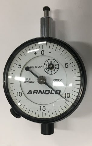 "Arnold Dial Indicator, 0-.20"" Range, .0005"" Graduation *USED/RECONDITIONED*"