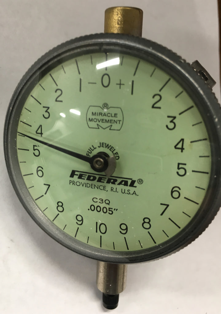 "Federal C3Q Dial Indicator with Lug Back, 0-.050"" Range, .0005"" Graduation *USED/RECONDITIONED*"