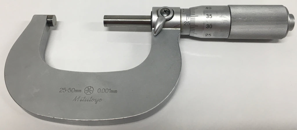 Mitutoyo 101-116 Outside Micrometer, 25-50mm Range, 0.001mm Graduation, Friction *USED/RECONDITIONED*