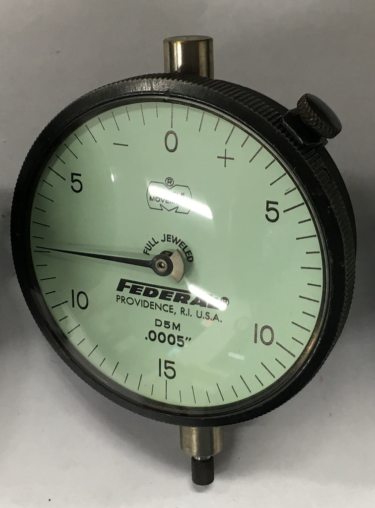 "Federal D5M Dial Indicator with Lug Back, 0-.075"" Range, .0005"" Graduation *USED/RECONDITIONED*"