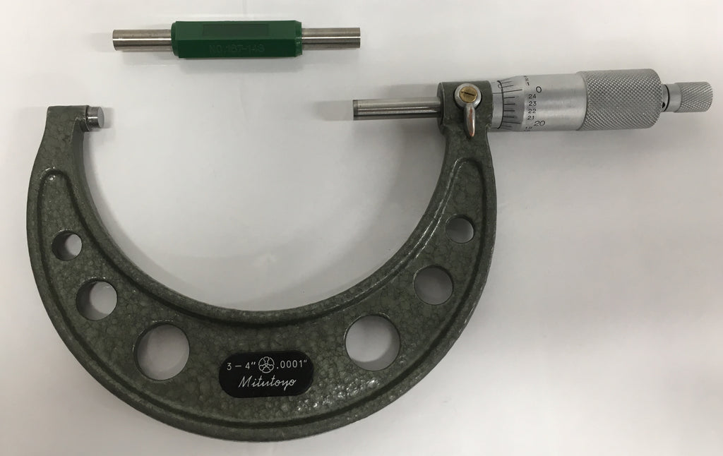 "Mitutoyo 103-218 Outside Micrometer, 3-4"" Range, .0001"" Graduation *USED/RECONDITIONED*"