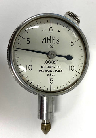 "B.C. Ames 107 Dial Indicator with Flat Back, 0-.075"" Range, .0005"" Graduation *USED/RECONDITIONED*"