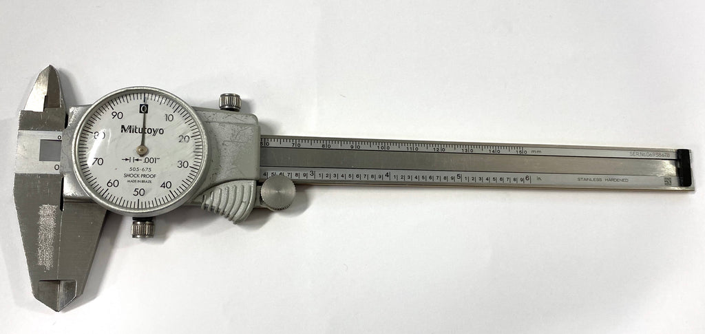 "Mitutoyo 505-675 Dial Caliper, 0-6"" Range, .001"" Graduation *USED/RECONDITIONED*"