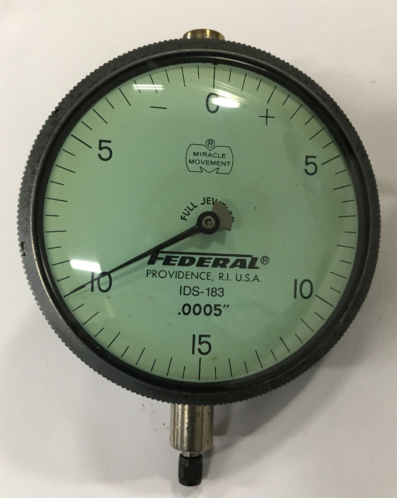 "Federal IDS-183 Dial Indicator with Lug Back, 0-.075"" Range, .0005"" Graduation *USED/RECONDITIONED*"