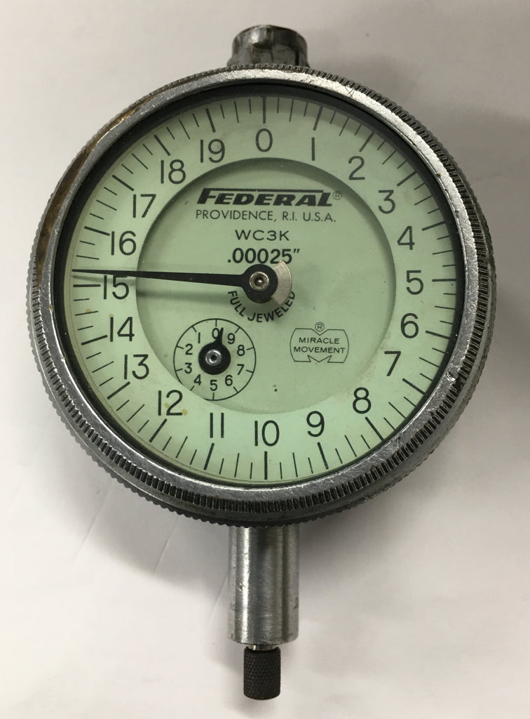 "Federal WC3K Dial Indicator with Flat Back, 0-.050"" Range, .00025"" Graduation *USED/RECONDITIONED*"