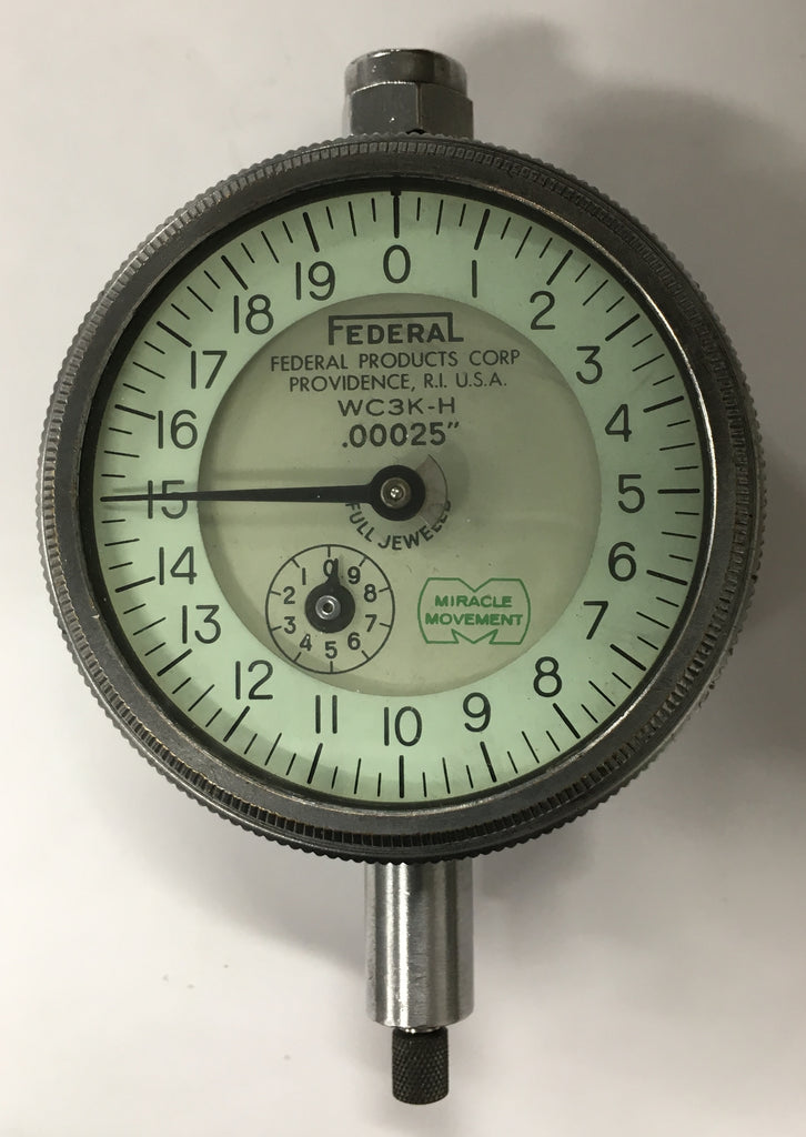 "Federal WC3K-H Dial Indicator Adjustable Back, 0-.050"" Range, .00025"" Graduation *USED/RECONDITIONED*"