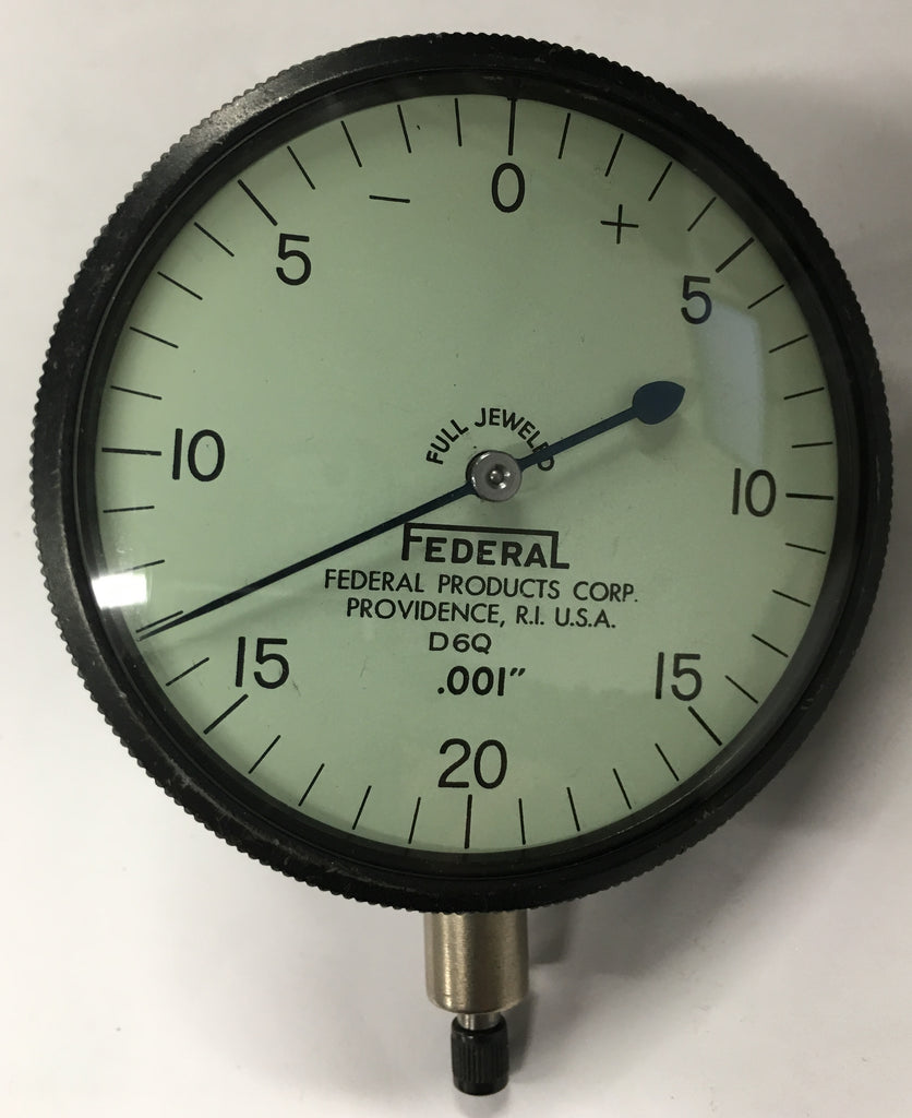 "Federal D6Q Dial Indicator w/ Lug Back, 0-.100"" Range, .001"" Graduation *USED/RECONDITIONED*"