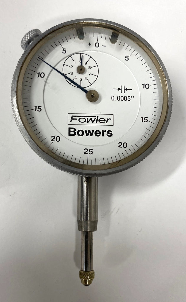 "Fowler Bowers 52-548 Dial Indicator, 0-.500"" Range, .0005"" Graduation (Silver Bezel) *USED/RECONDITIONED*"