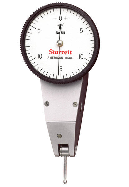 "Starrett 811-5PZ Dial Test Indicator with Swivel Head, .030"" Range, .0005"" Graduation"