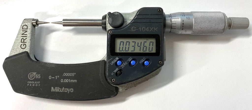 "Mitutoyo 342-351 Digimatic Point Micrometer, 0-1""/0-25mm Range, .00005""/0.001mm Resolution *USED/RECONDITIONED*"