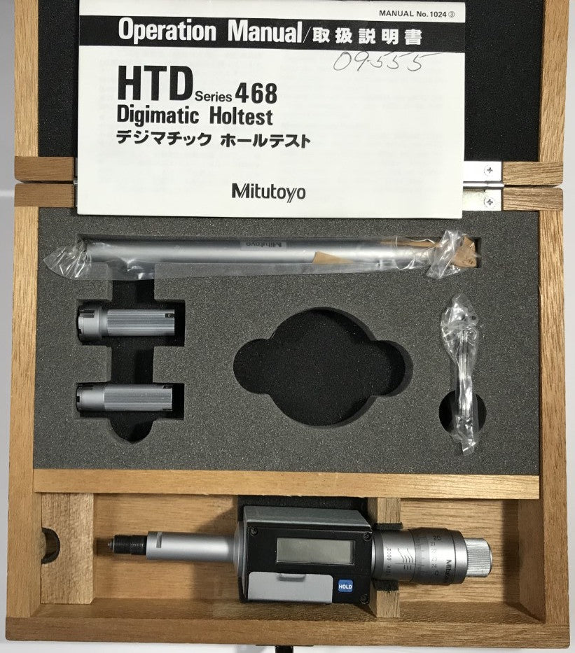 "Mitutoyo 468-922 Digimatic Holtest Internal Micrometer, .5-.8""/12.7-20.32mm Range, .00005""/0.001mm Resolution  *USED/RECONDITIONED*"