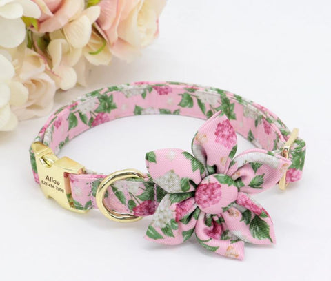 Pretty flower personalised collars