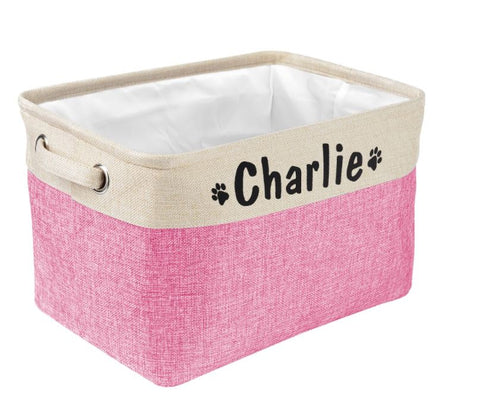 Personalised pet storage box - pink