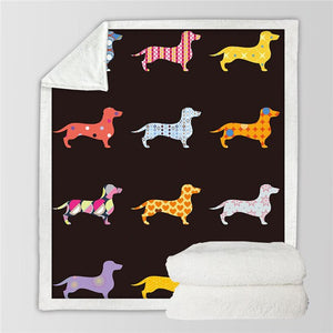 Dog design sherpa fleece blanket throw