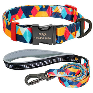 Modern personalised dog collar and lead set