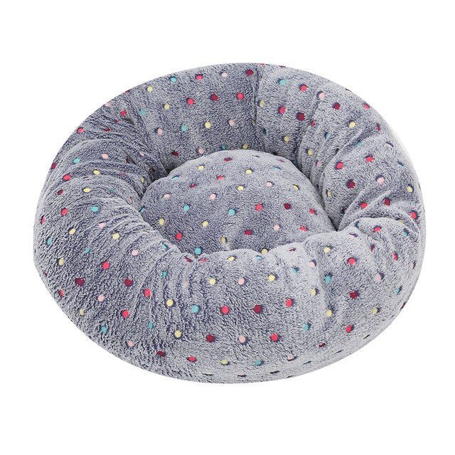 Colourful dotty embroidered pet bed