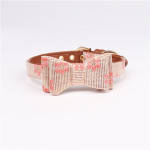Woven & leather bowknot pet collar