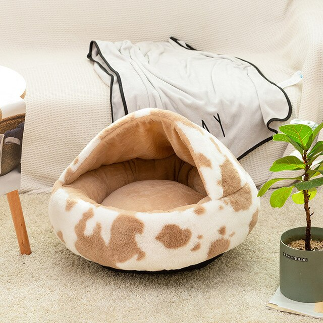 Best sleep ultra soft plush cow print hooded cat or small dog bed
