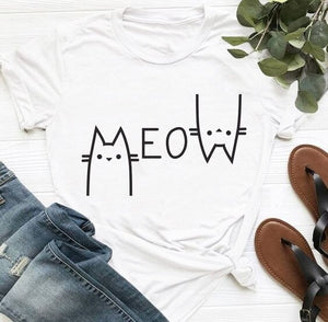 Vintage casual Meow cotton womens t-shirt