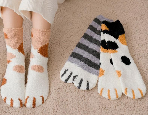 Women's Cat Paw Stripe Socks