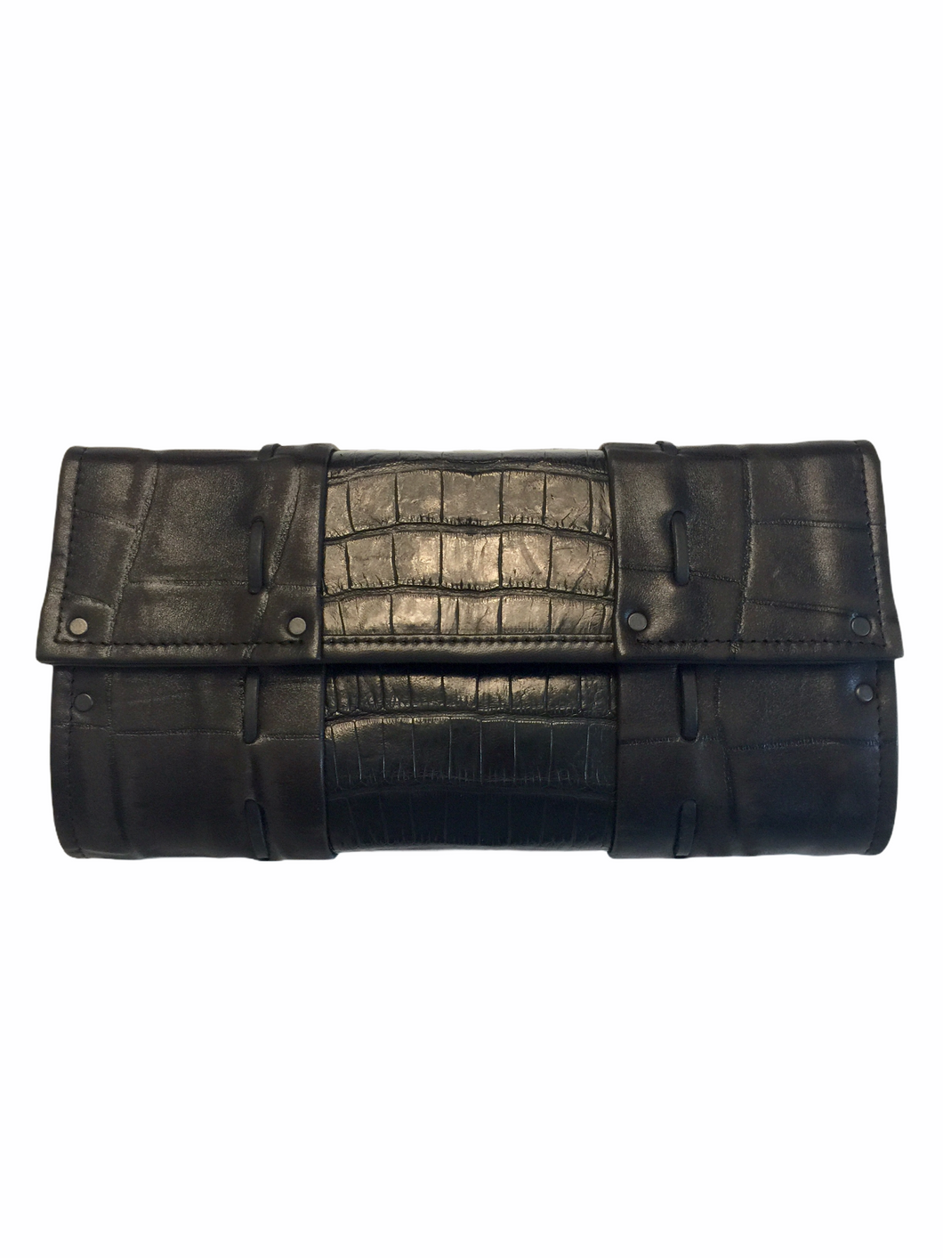 Genuine Crocodile Mixed With Embossed Lambskin
