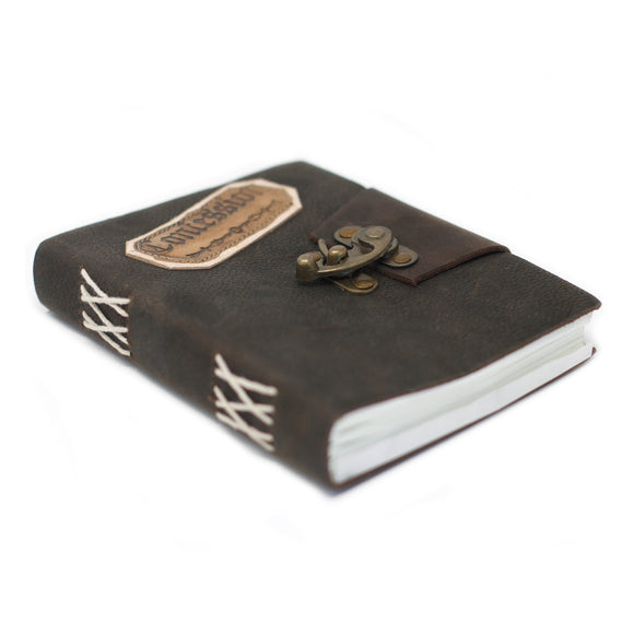 LEATHER BLACK CONFESSIONS WITH LOCK NOTEBOOK