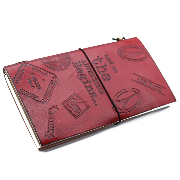 HAND MADE RED LEATHER JOURNAL - THE ADVENTURE BEGINS