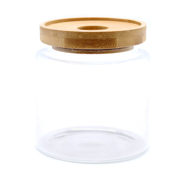 COTTAGE BAMBOO GLASS JAR - 10 CM