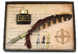 VINTAGE STYLE FEATHER QUILL PEN, NIBS & INK SETS