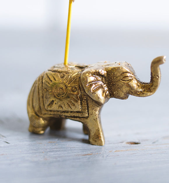 ANTIQUE BRASS ELEPHANT INCENSE HOLDER