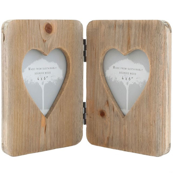 DRIFTWOOD DOUBLE HEART PHOTO FRAME