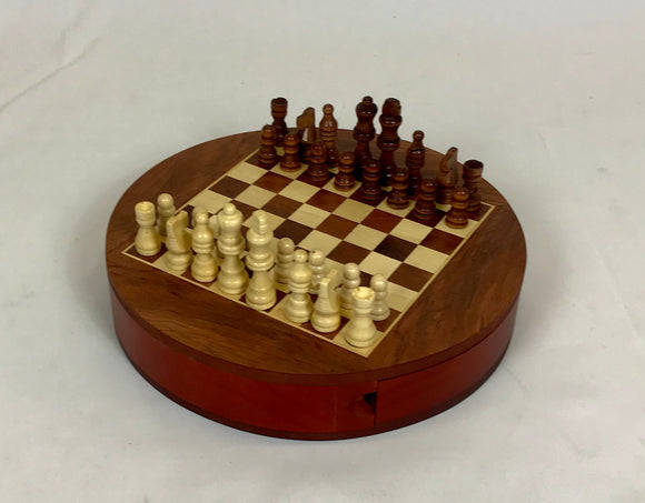 ROUND WOODEN CHESS SET WITH DRAWERS
