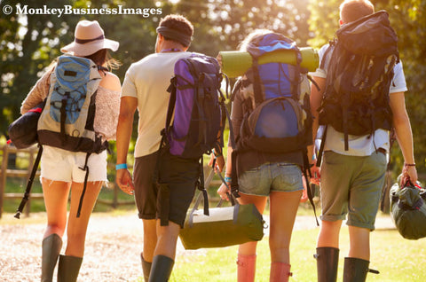 Campers walking at a festival