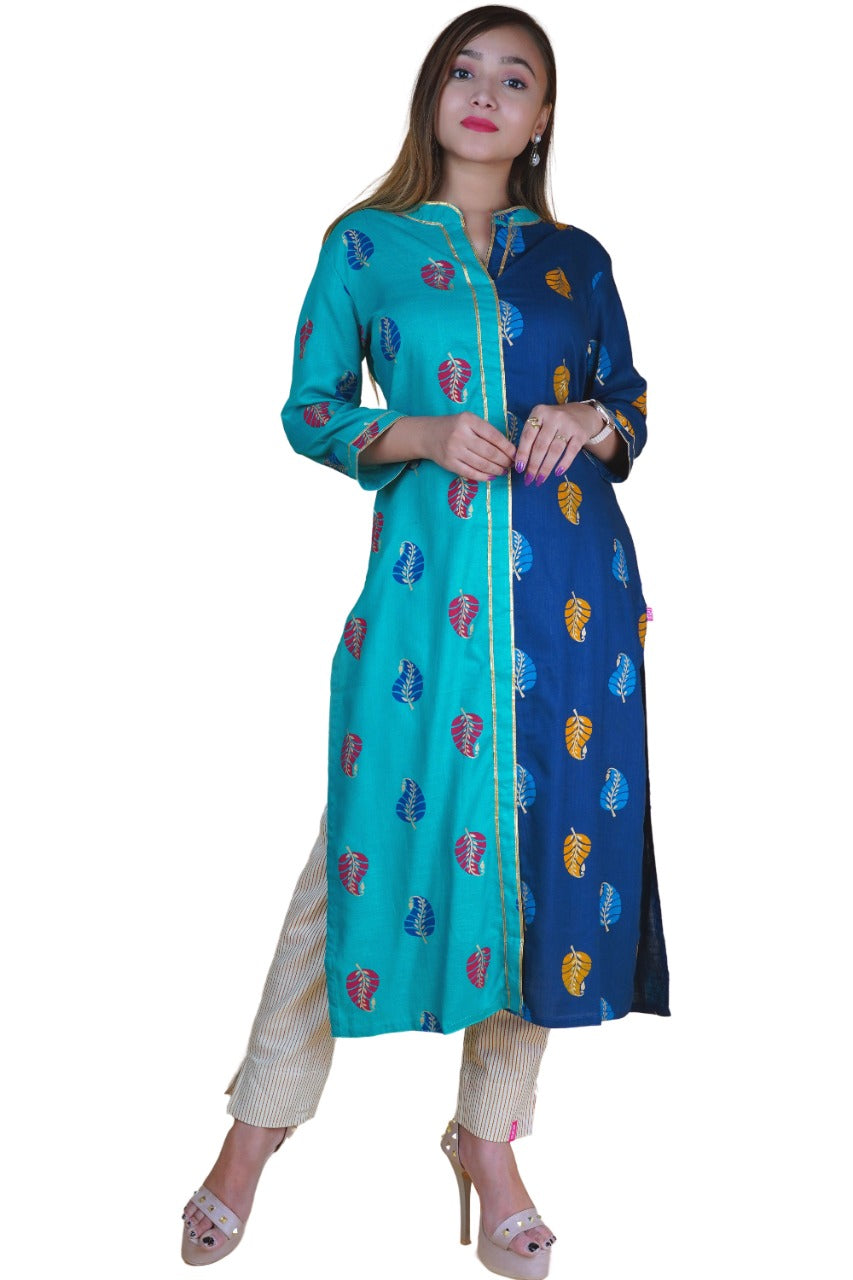 Turquoise & Blue Rayon Kurta with Gold Lace - NAAVIV