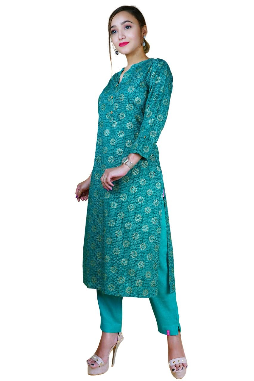 Women's Rama Green Gold Printed Kurta Set - NAAVIV