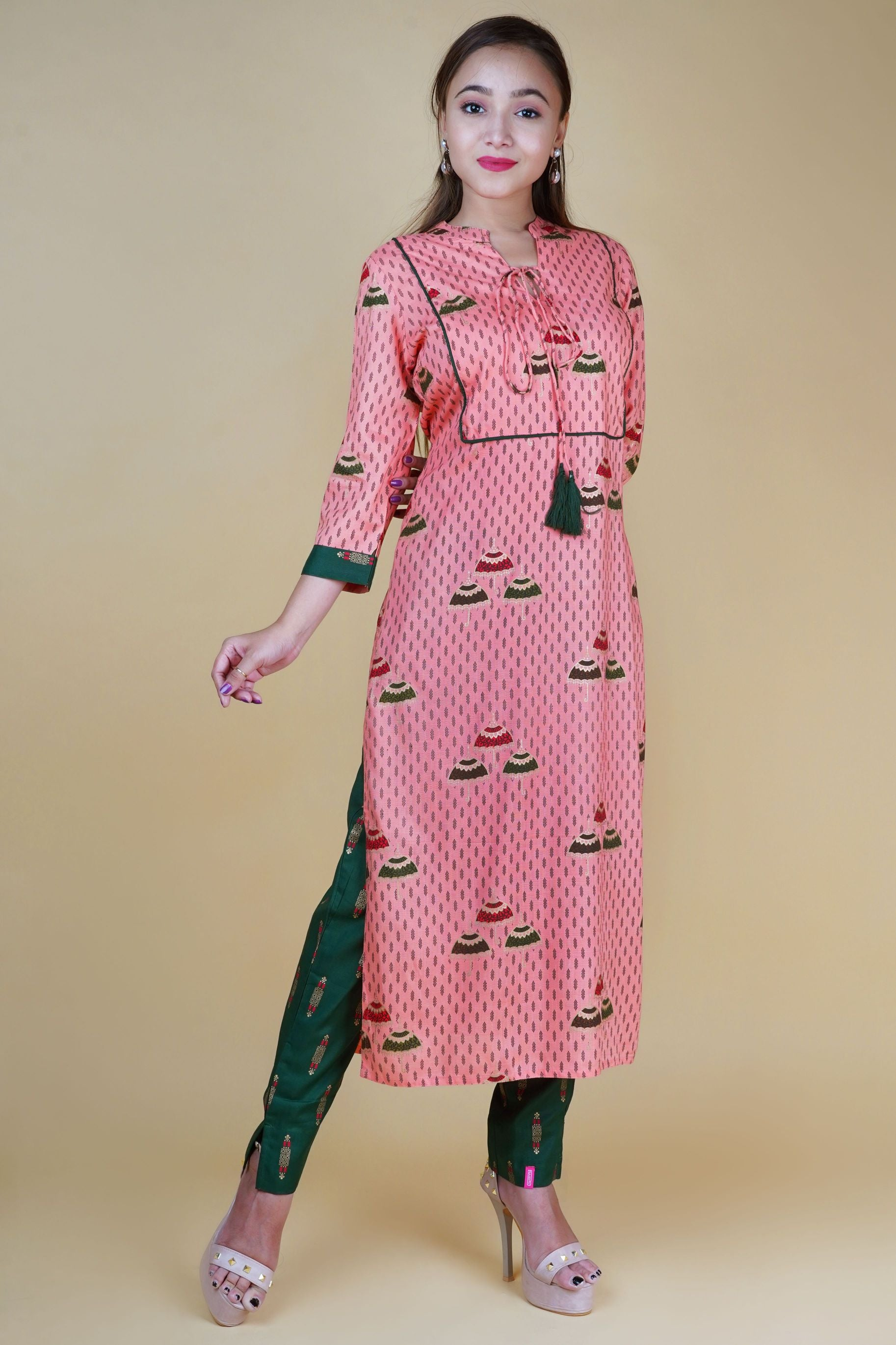 Women's Peach Rayon Kurta with Pants - NAAVIV