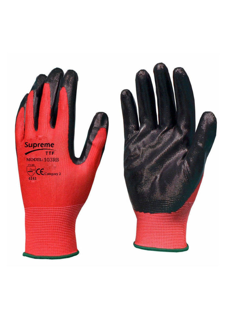 Red Black Nitrile Coated Gloves 103RB – PPE Supplies Direct