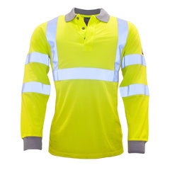Flame Resistant Anti-Static Hi-Vis Long Sleeve Polo Shirt
