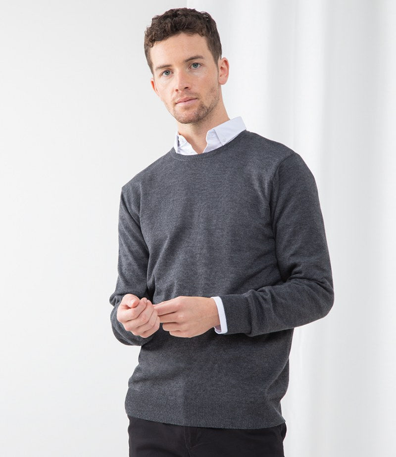 Henbury Lightweight Cotton Acrylic Crew Neck Sweater