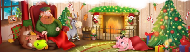 Merry Ole Mick at home with his farmyard friends