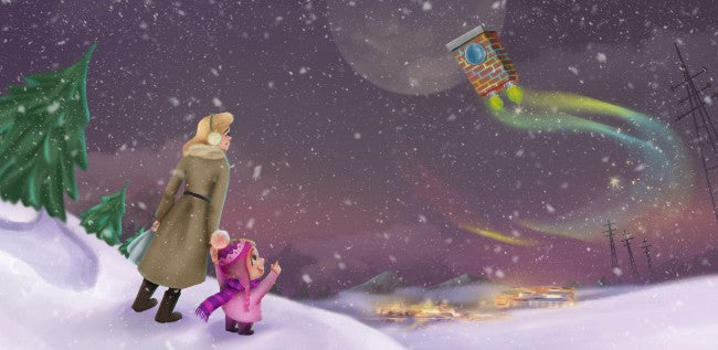 Flying in his Chimney Express to meet Santa Claus