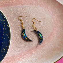 Load image into Gallery viewer, Celestial moon hook earrings.