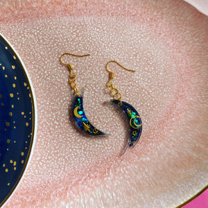 Celestial moon hook earrings.