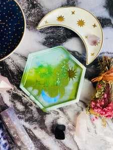 Hexagonal resin celestial trinket tray.