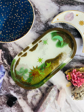 Load image into Gallery viewer, Oval resin celestial trinket tray.