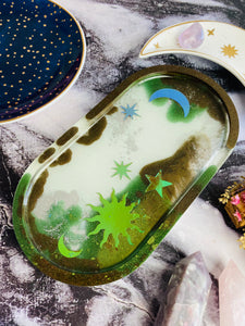 Oval resin celestial trinket tray.