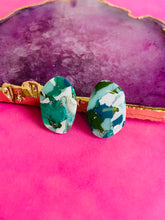 Load image into Gallery viewer, Aquamarine stone studs.